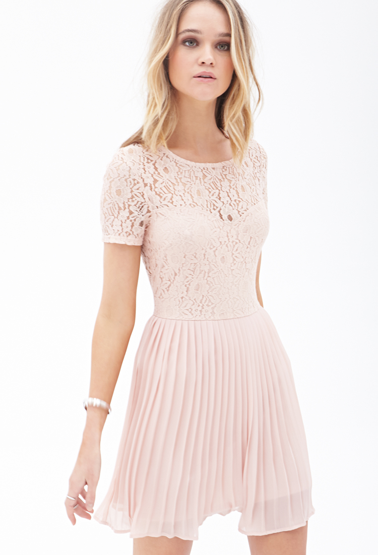Lyst - Forever 21 Pleated Lace Combo Dress in Pink