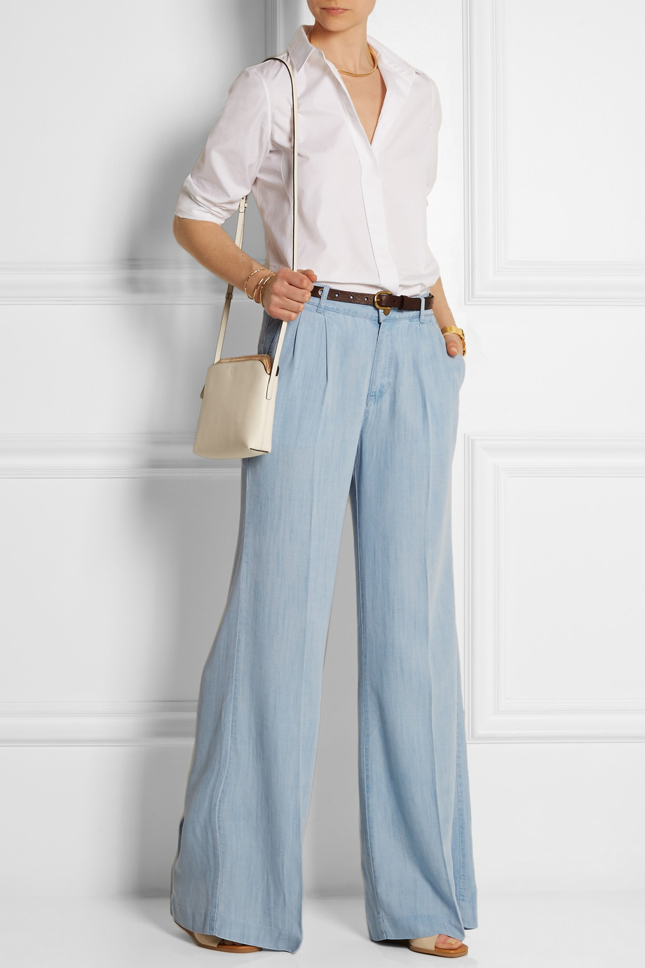 Michael michael kors Chambray Wide-Leg Pants in Blue | Lyst