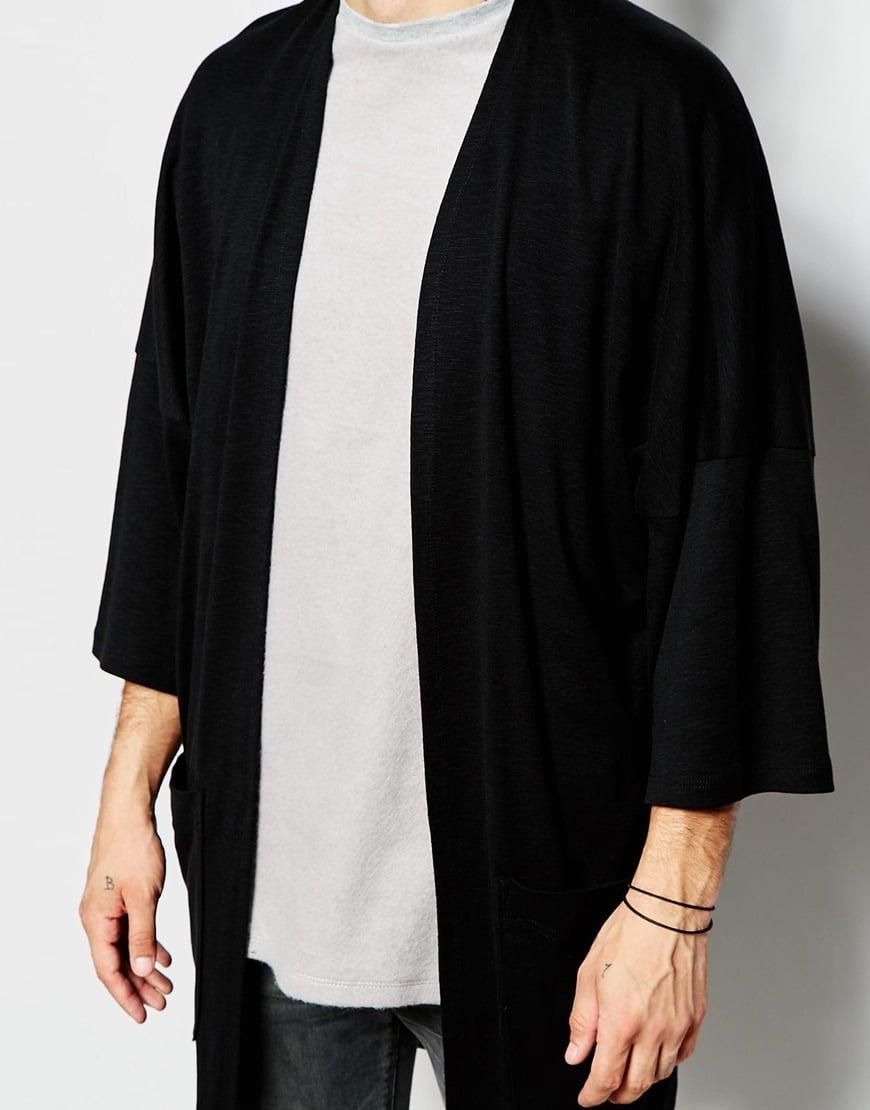 Asos Oversized Kimono Cardigan In Slub Jersey in Black for Men | Lyst