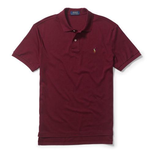 Lyst polo ralph lauren pima soft touch polo shirt in for Black ralph lauren shirt purple horse