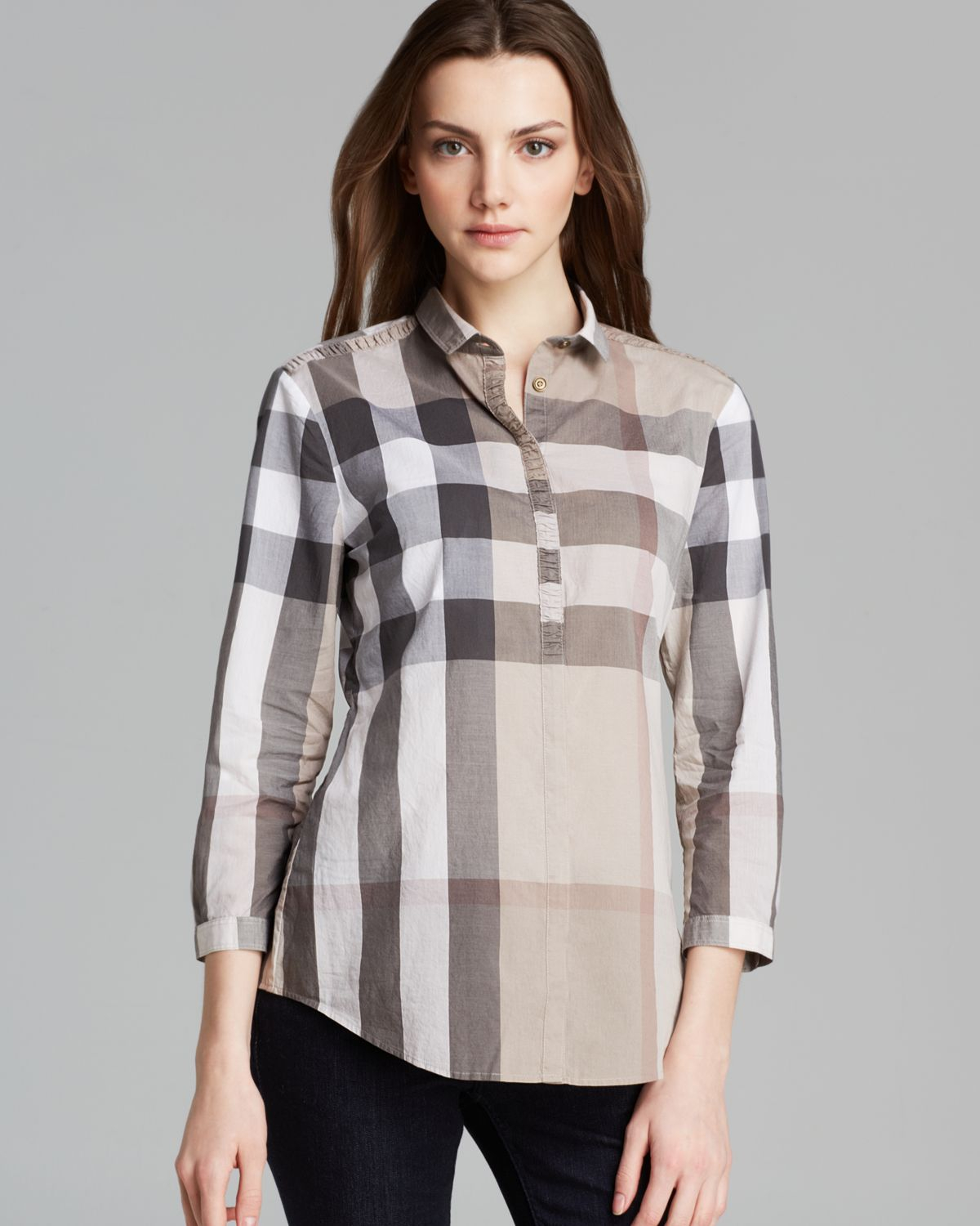 Burberry brit check print shirt lyst for Burberry brit checked shirt
