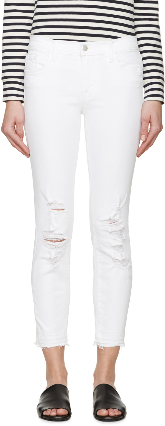 J brand White Distressed Cropped Jeans in White | Lyst