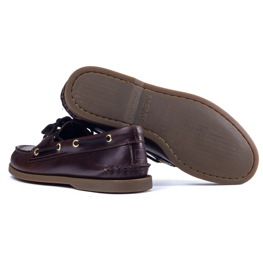 Sperry top-sider Dark Brown Leather Boat Shoes in Purple for Men ...