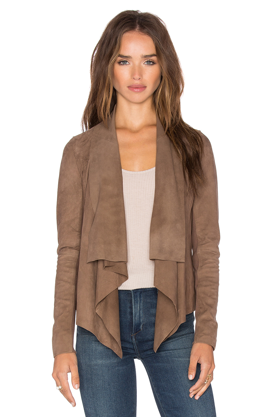Muubaa Chester Drape Front Jacket in Brown