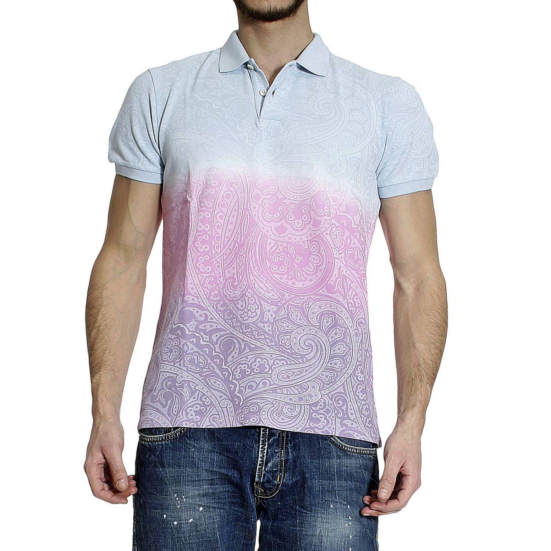 Etro T Shirt Polo Short Sleeve Mesh Tie Dye Print In Blue