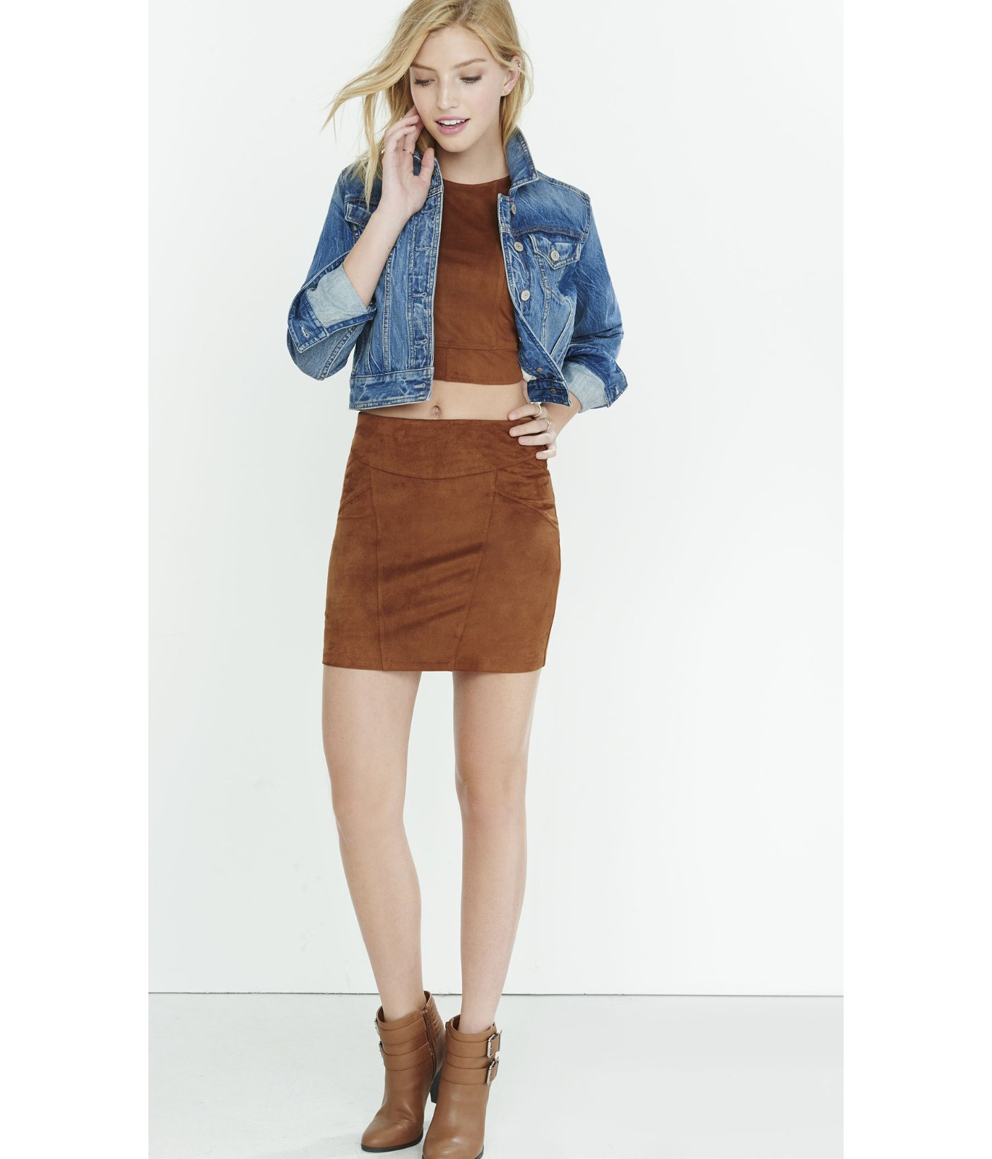 Express Brown Faux Suede Stretch Mini Skirt in Natural | Lyst