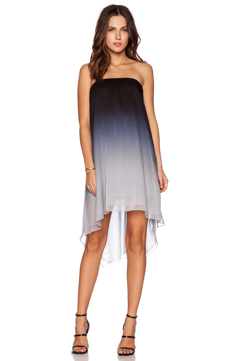 Halston Strapless Ombre Dress in Gray  Lyst