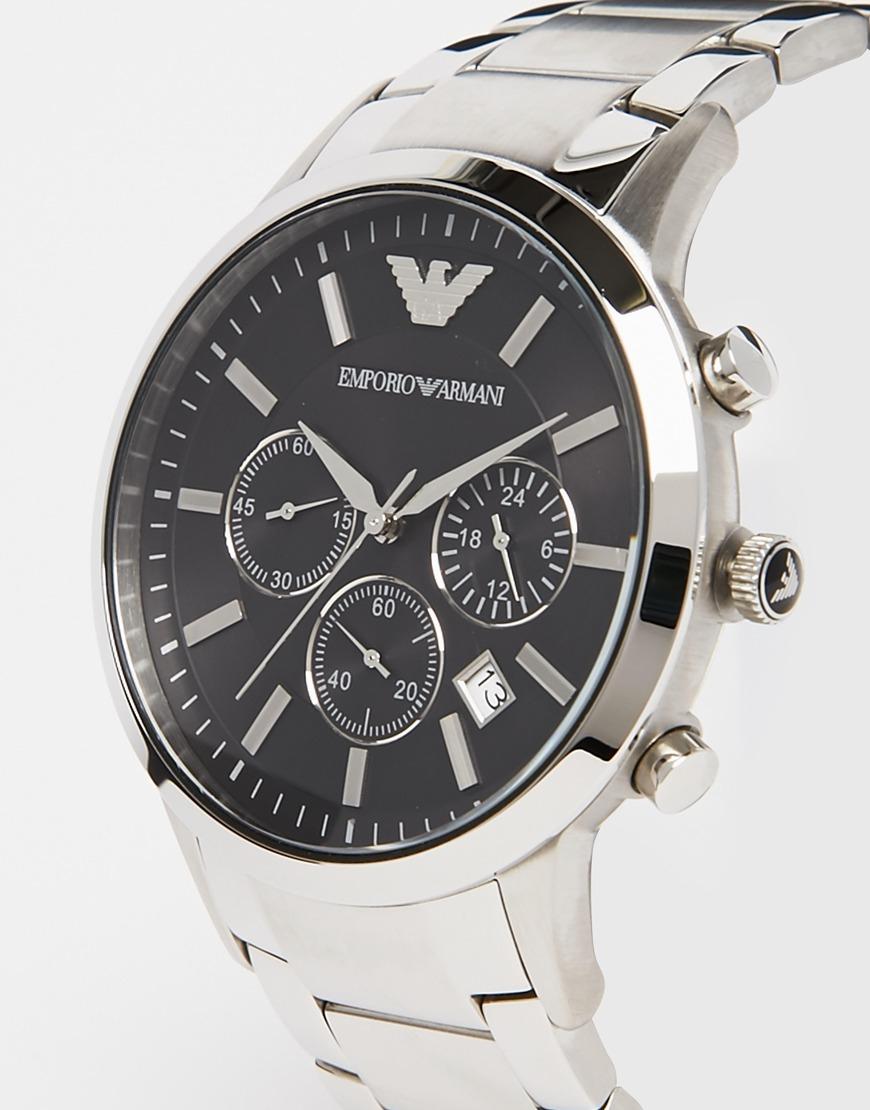 emporio armani renato watch ar2434 in metallic for men lyst. Black Bedroom Furniture Sets. Home Design Ideas