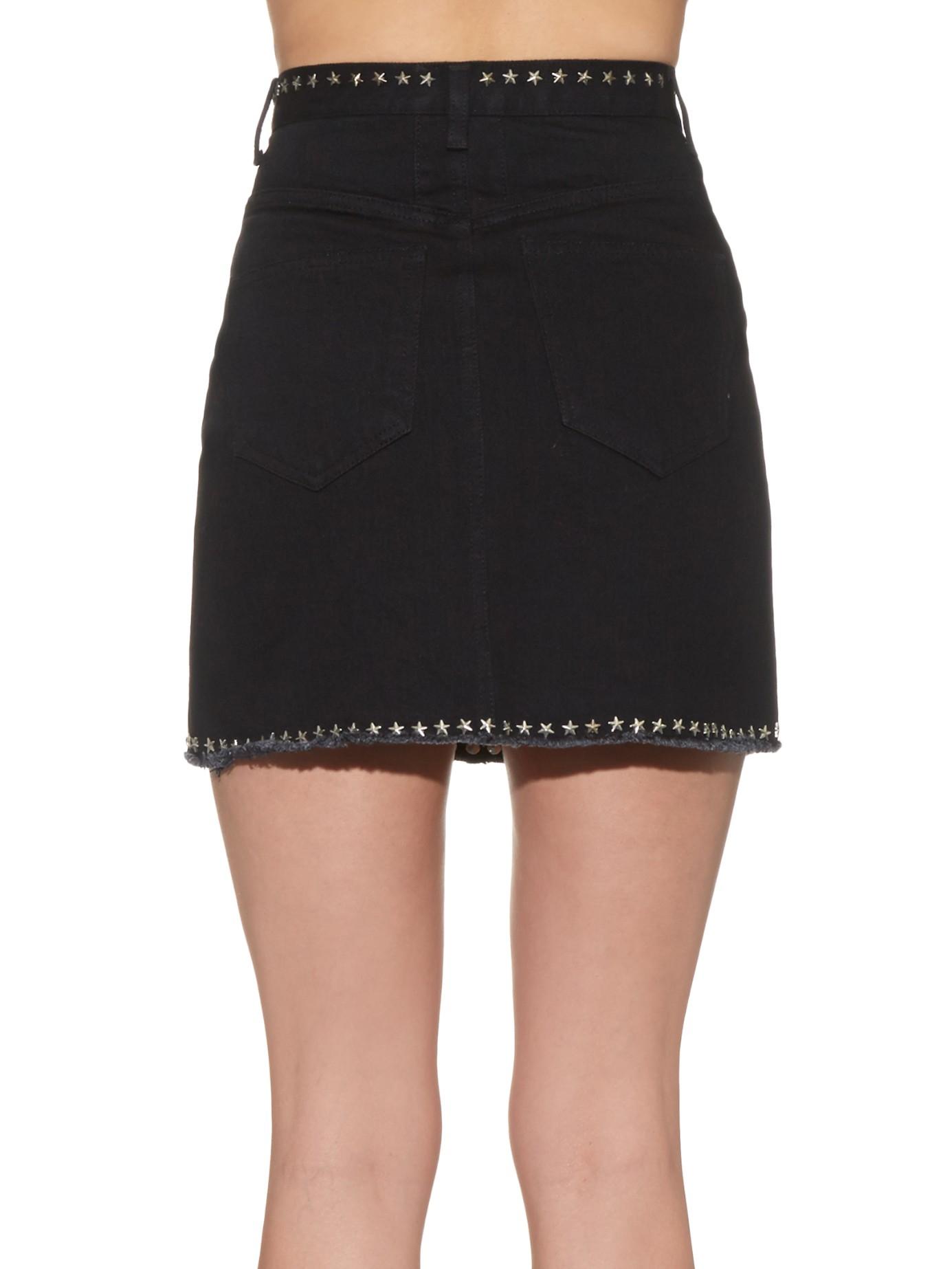 laurent stud embellished denim mini skirt in