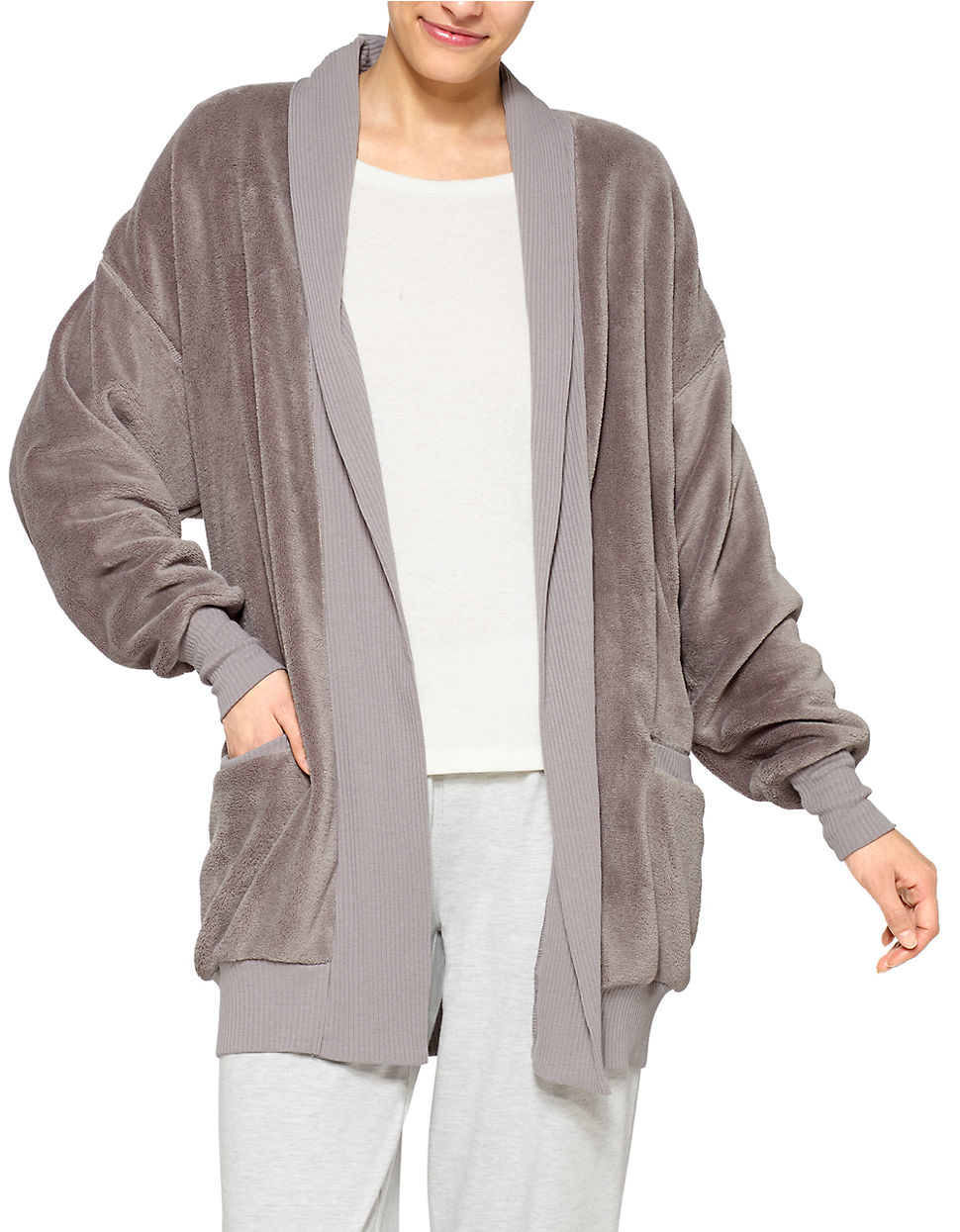 Hue Fleece Cardigan Robe in Gray | Lyst
