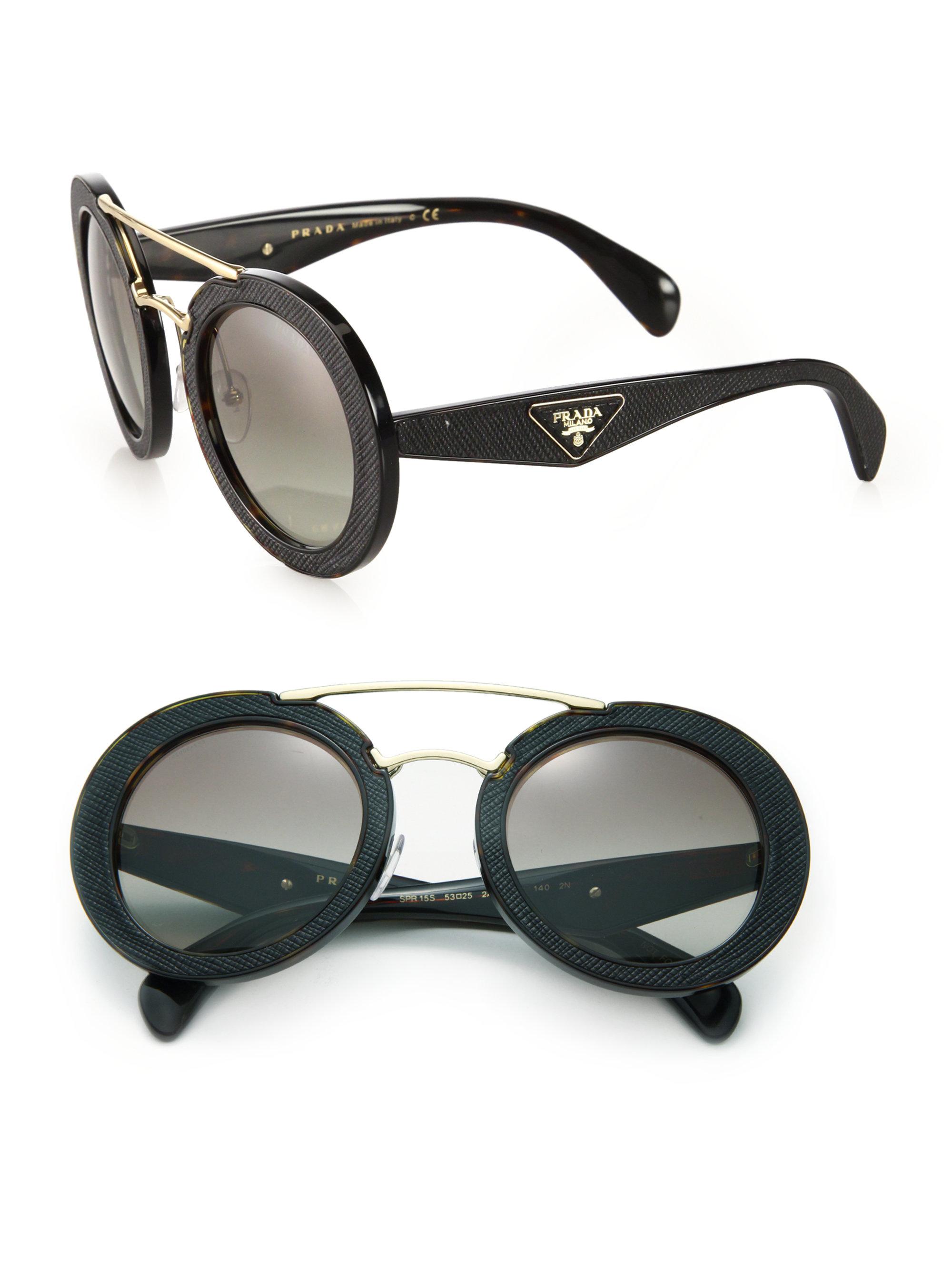 99ac2a9dec Prada Ornate 15ss 53mm Saffiano Leather Round Sunglasses in Black