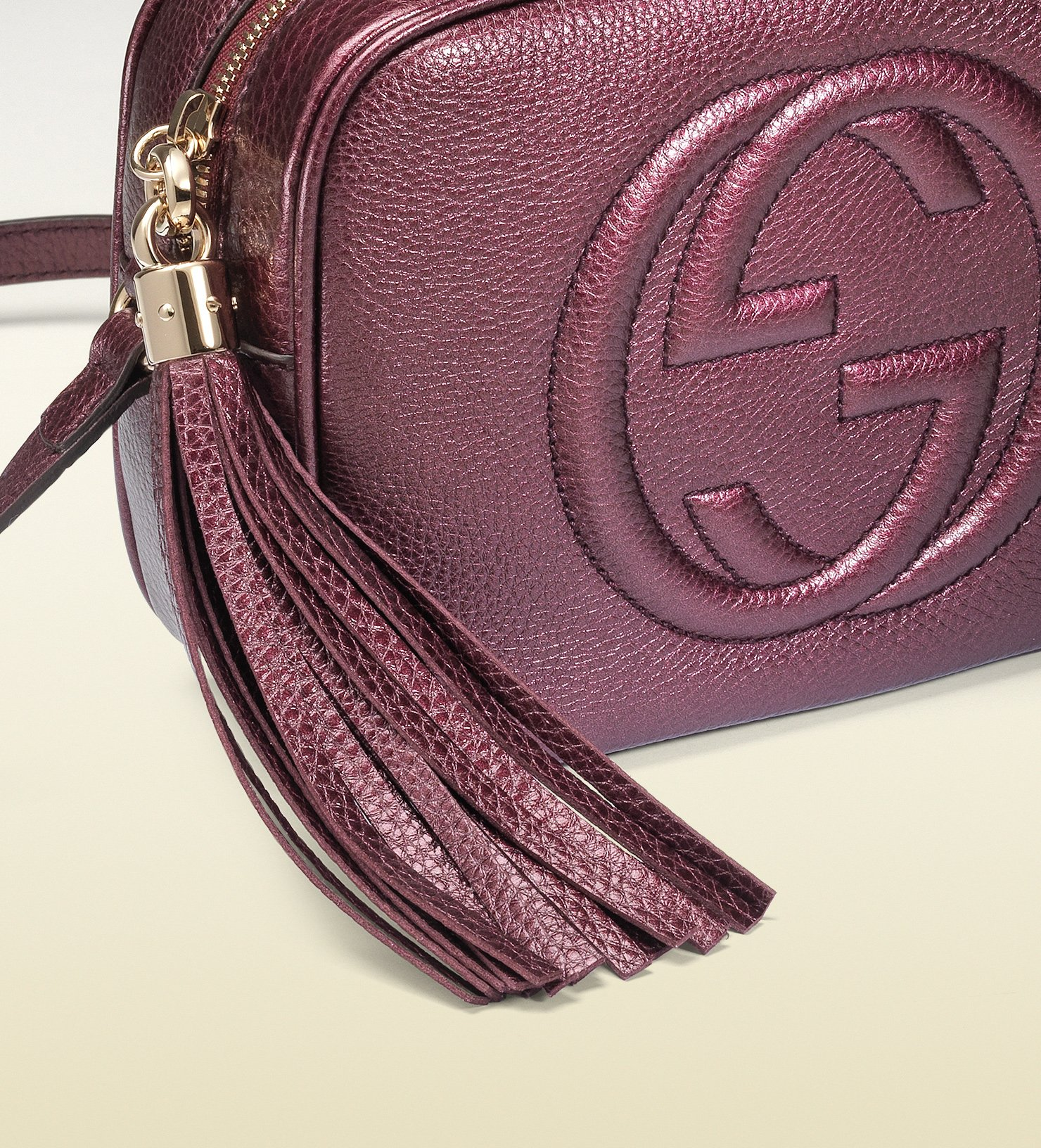 Lyst Gucci Soho Metallic Leather Disco Bag In Purple