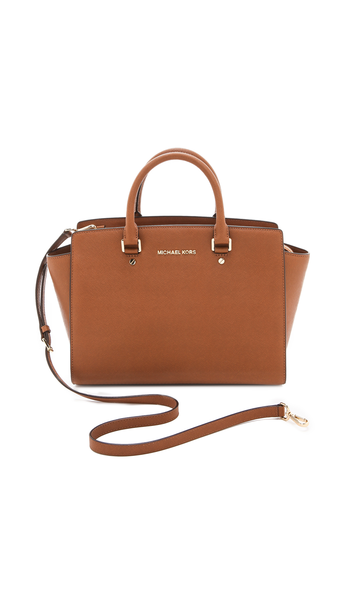 michael michael kors selma large saffinano leather tote in brown luggage lyst. Black Bedroom Furniture Sets. Home Design Ideas