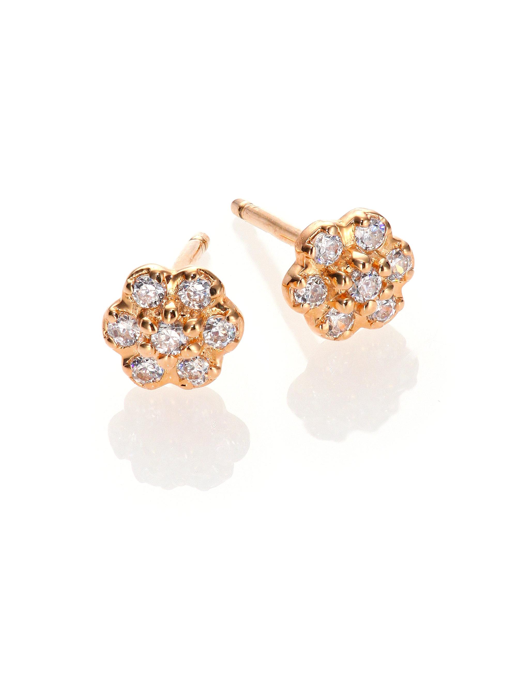 Ginette NY Mini Diamond Ever 18-karat rose gold studs 6hbhp8x