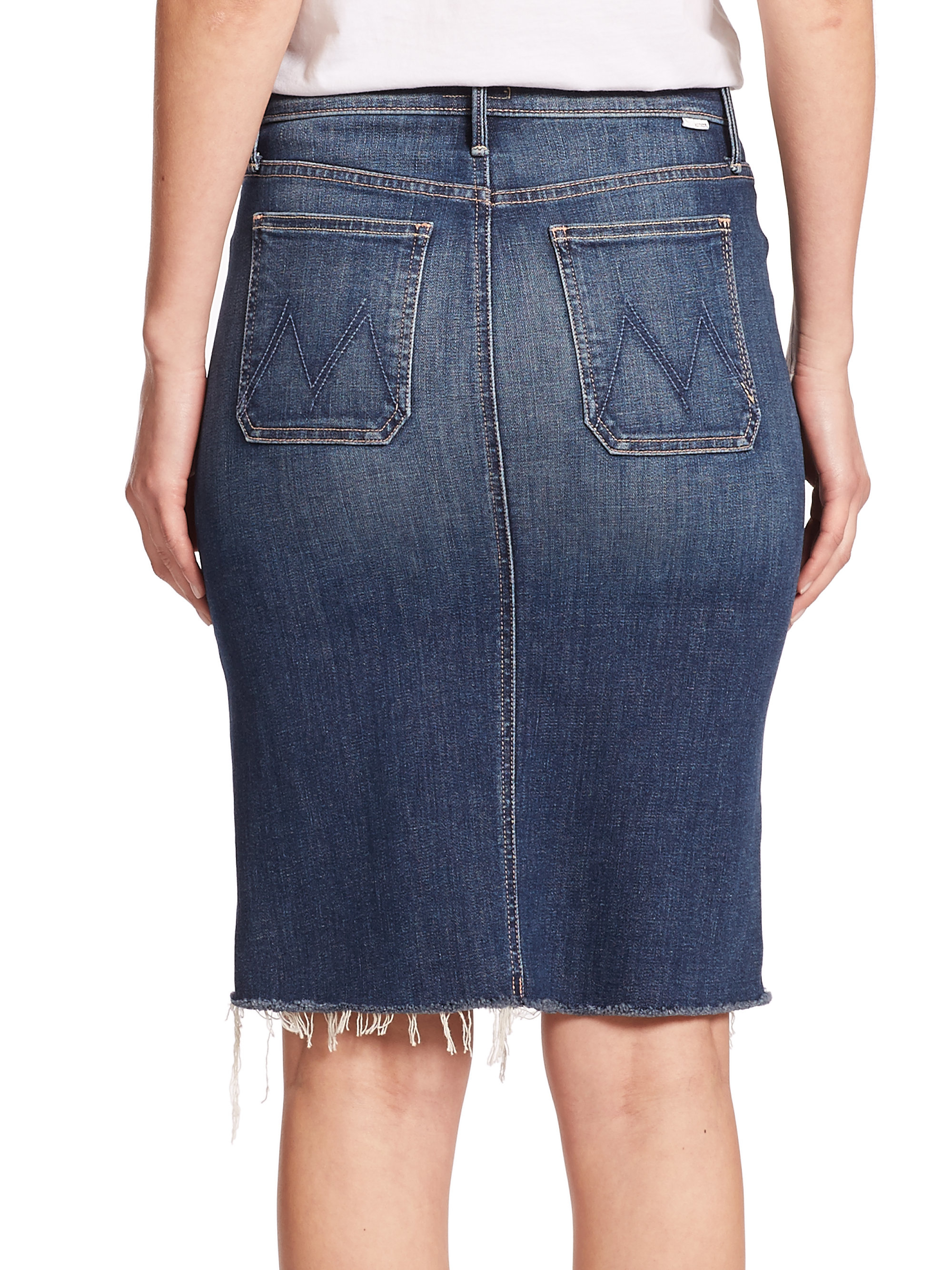 high waisted denim pencil skirt lyst mother high waist denim pencil skirt in blue 4392