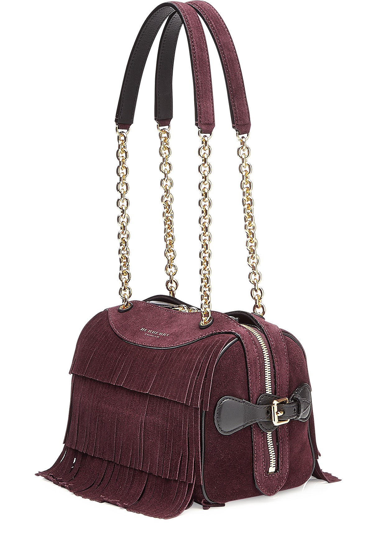 fa08cb305151 Lyst - Burberry Prorsum Fringed Suede Shoulder Bag - Red in Purple