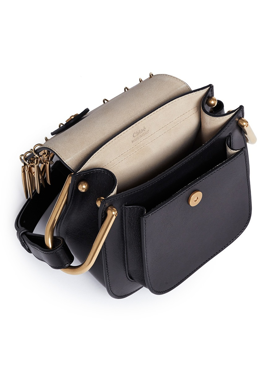 replica chloe handbags - Chlo�� Hudson Mini Charm Leather Shoulder Bag in Black | Lyst