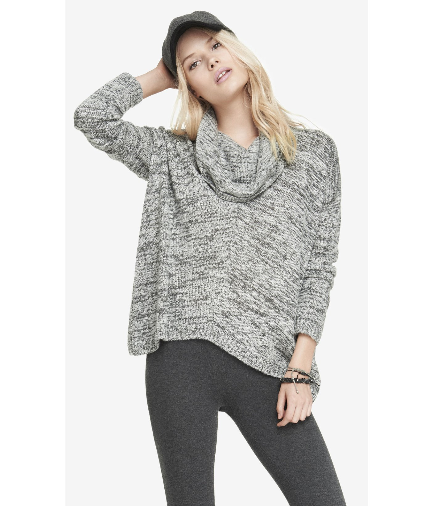 986bf8a4664 Express Oversized Marled Cowl Neck Sweater in Gray - Lyst