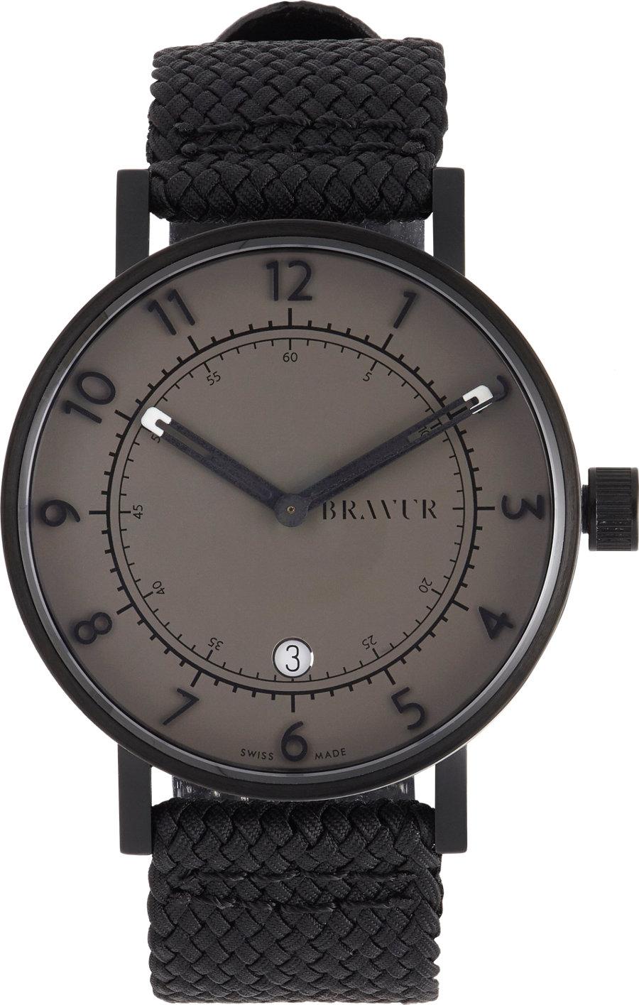 lyst bravur round face watch 41mm in black for men. Black Bedroom Furniture Sets. Home Design Ideas