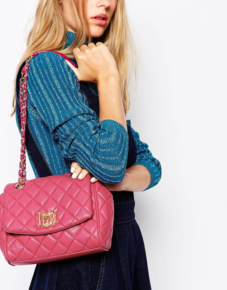 quilted chain strap shoulder bag - Blue Love Moschino E81rnfzyCh
