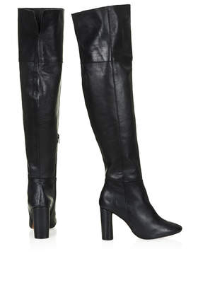 b6eebf3c8d4e48 Lyst - TOPSHOP Collide Leather Over Knee Boots in Black