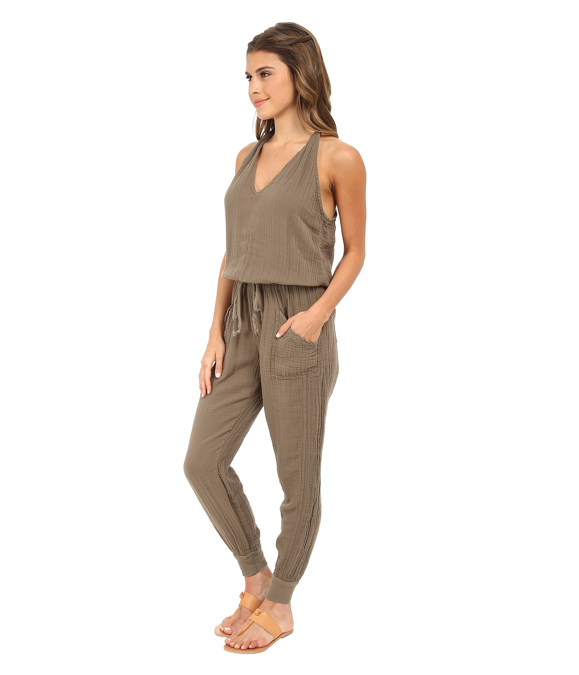 7063c3e4db6e Lyst - Michael Stars Double Gauze Twisted Strap Jumpsuit in Natural