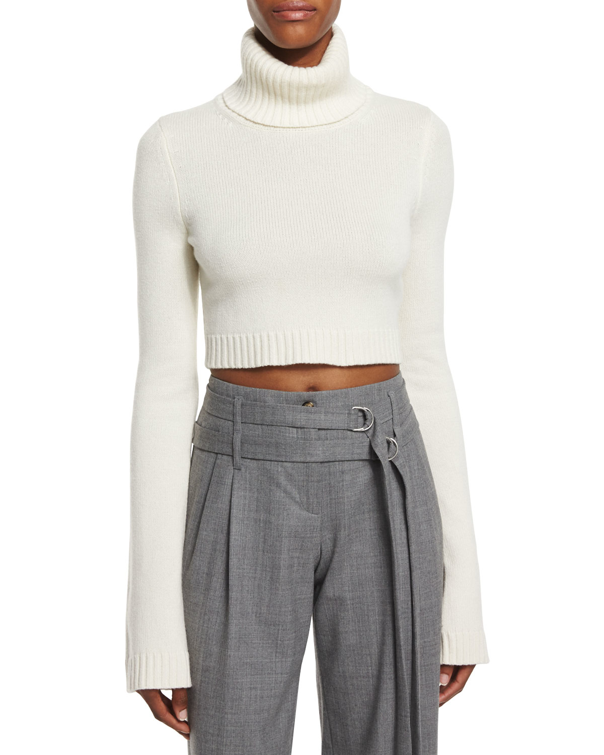 Michael kors Cropped Cashmere Turtleneck Sweater in White | Lyst