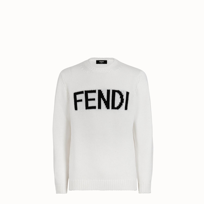 c79e76e96974 Lyst - Fendi Logo Intarsia Sweater in White for Men - Save 40%