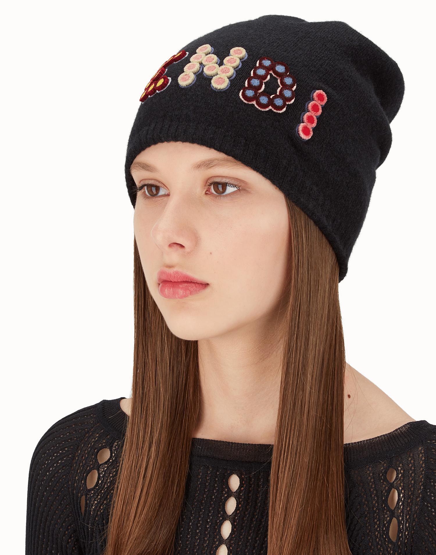 Amusant Chapeau Bonnet Juste - Fendi Noir D9rJzU