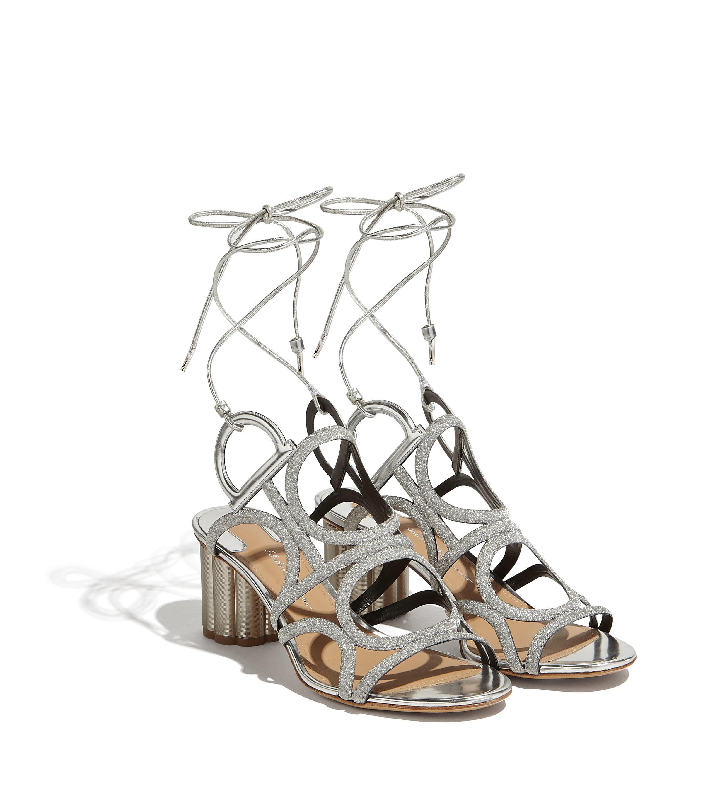 8e7d4084974a Lyst - Ferragamo Flower Heel Gancini Sandal in Metallic