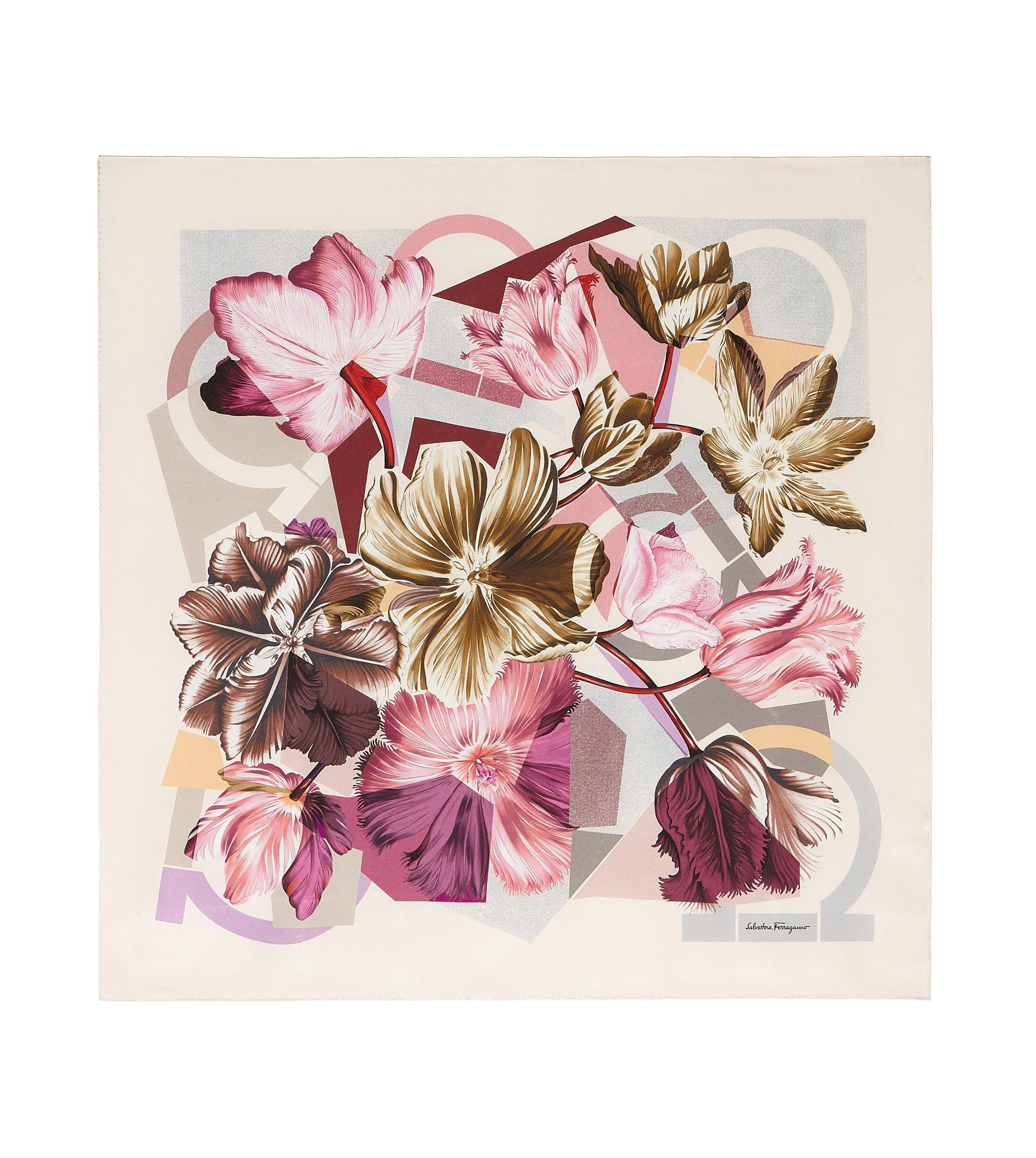 Gancini and Flowers print scarf - Pink & Purple Salvatore Ferragamo IGJODT1o