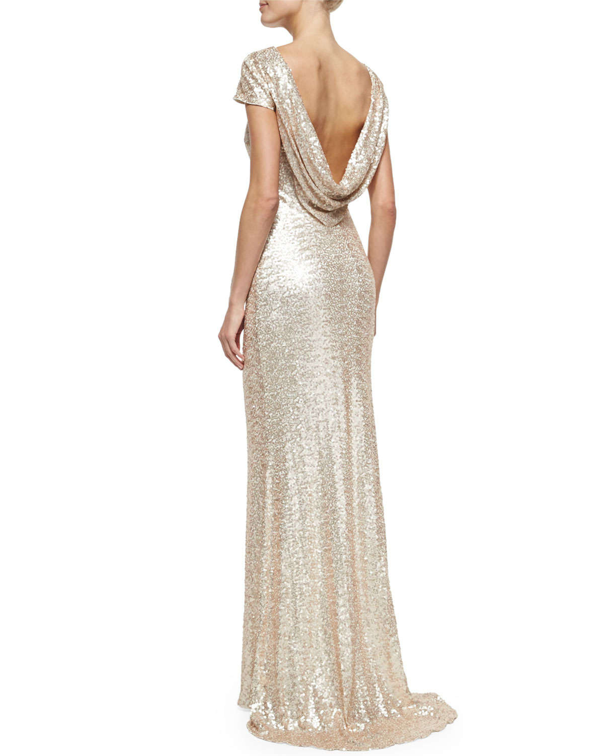 a4f033a782 Lyst - Badgley Mischka Cap-sleeve Cowl-back Sequined Gown in Pink