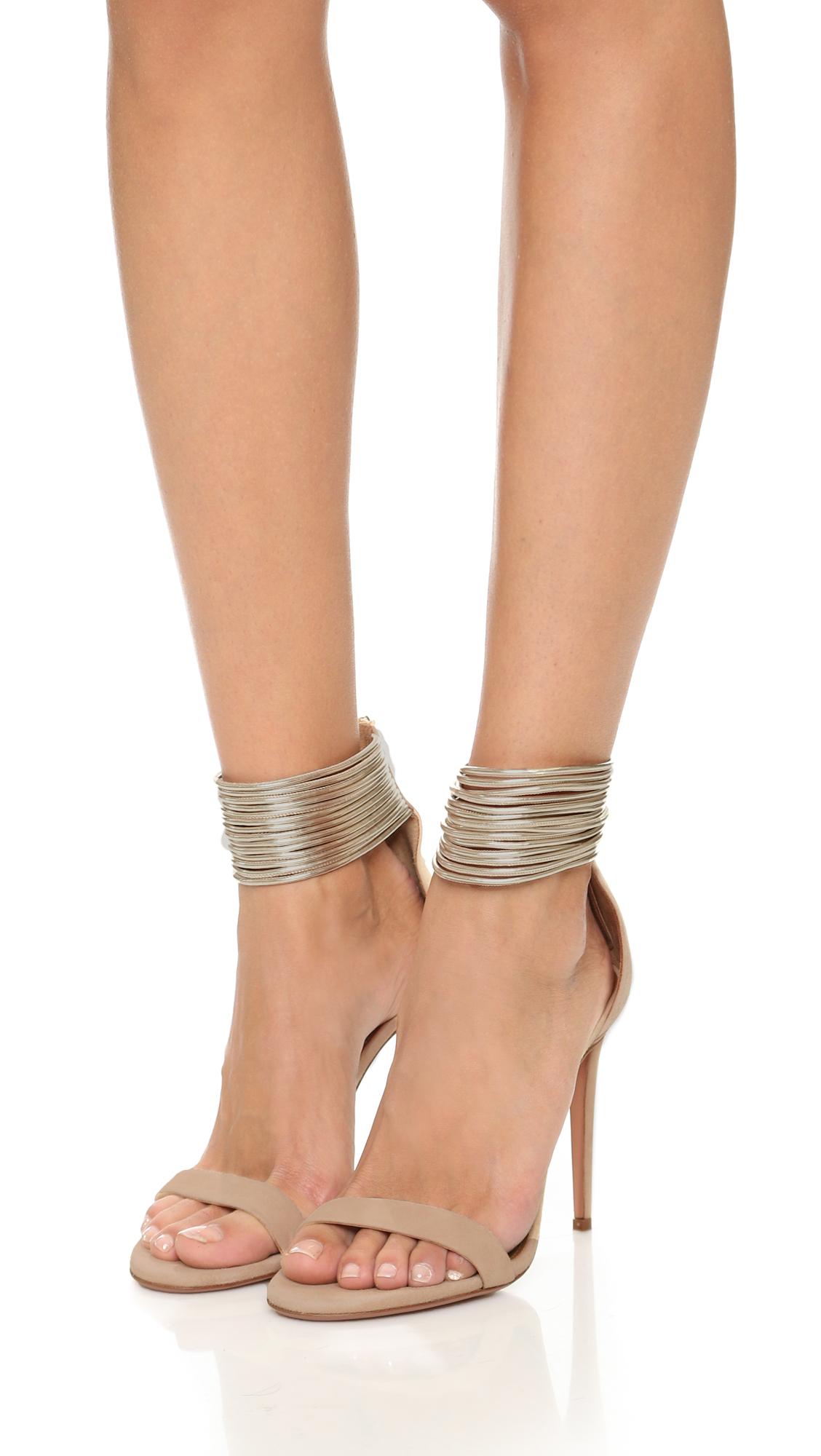Lyst Aquazzura Spin Me Around Sandals In Natural