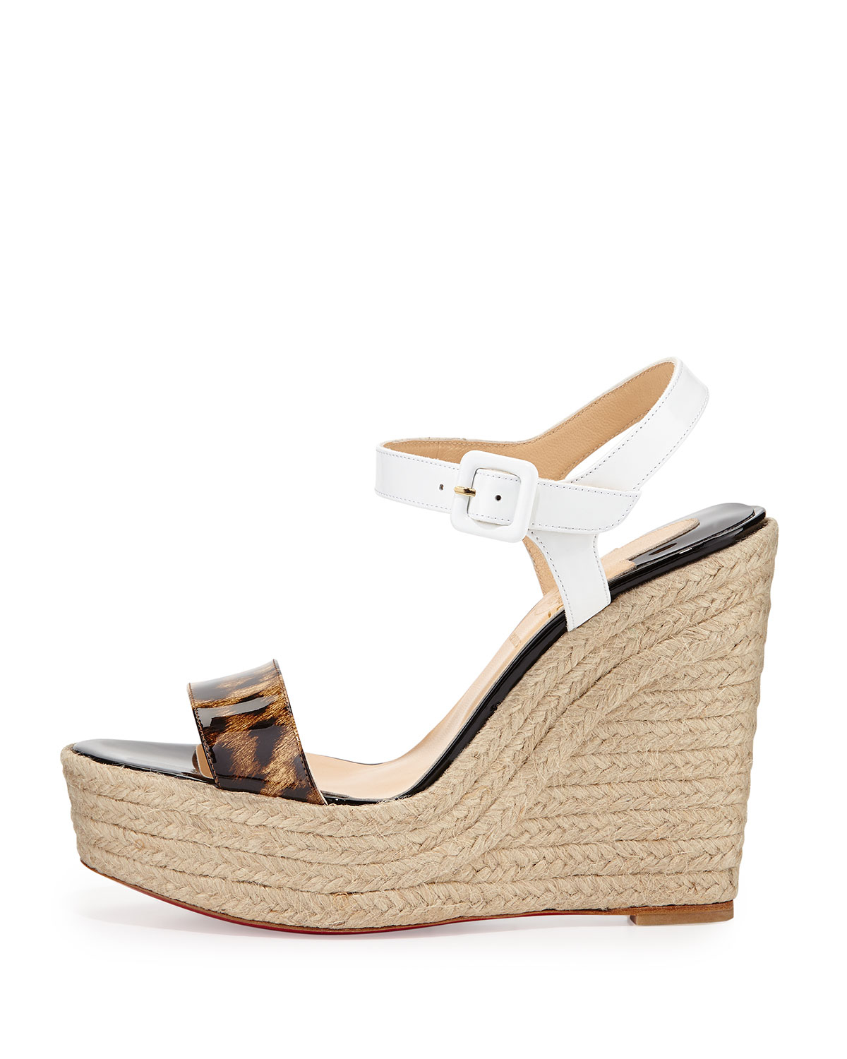 mens red bottom shoes price - christian louboutin espadrille wedges Brown perforated leather ...