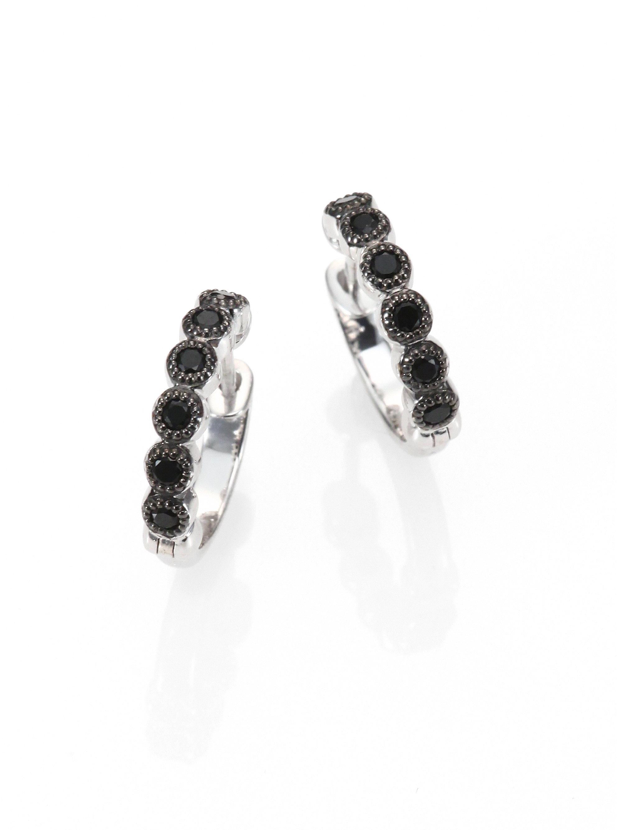 Lyst - Jude Frances Black Spinel   Sterling Silver Hoop Earrings 0.5 ... 5f0858ca7251