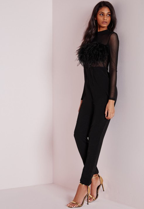 Missguided Feather Front Mesh Long Sleeve Jumpsuit Black