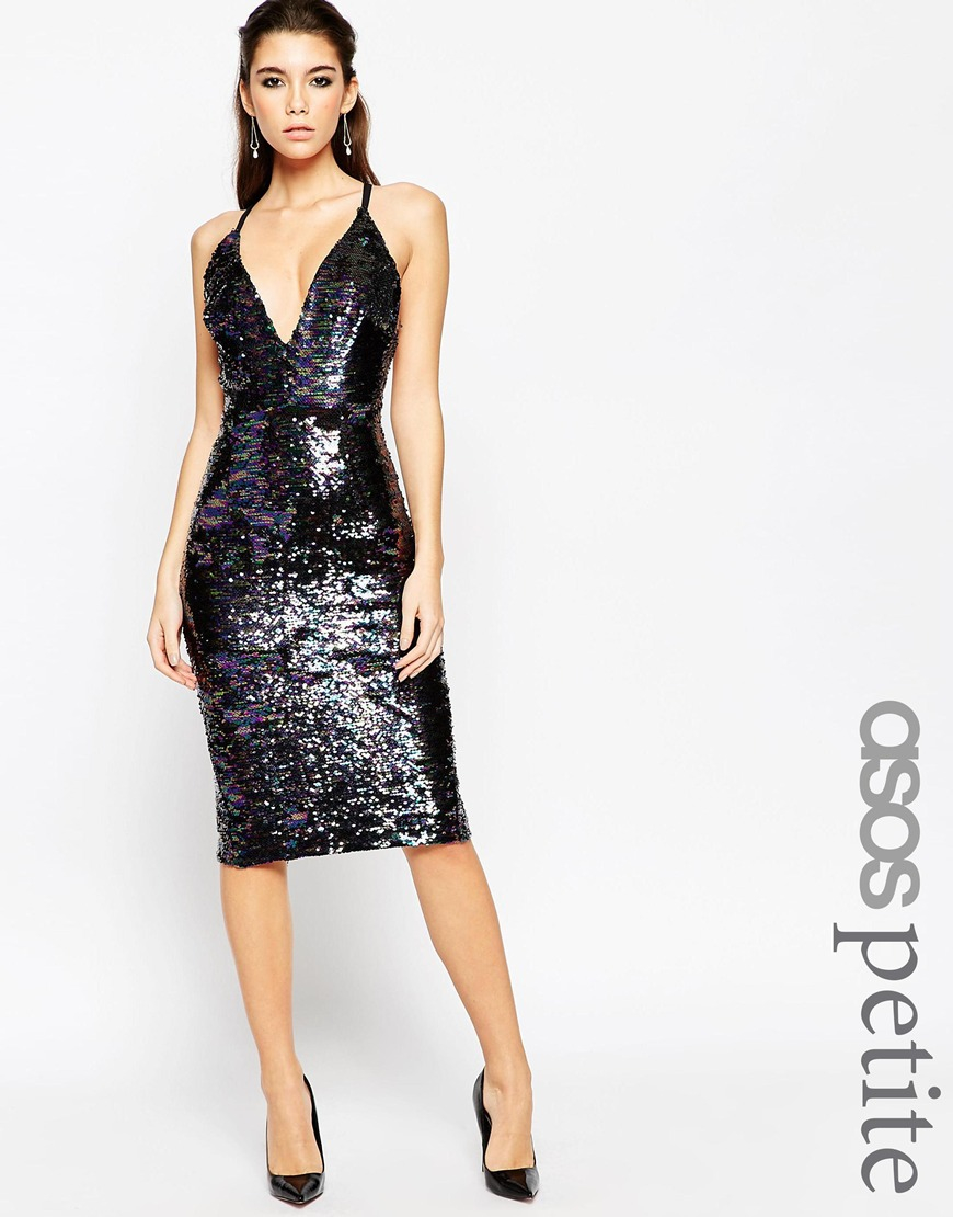 Asos Petite Night Deep Plunge Sequin Midi Dress In