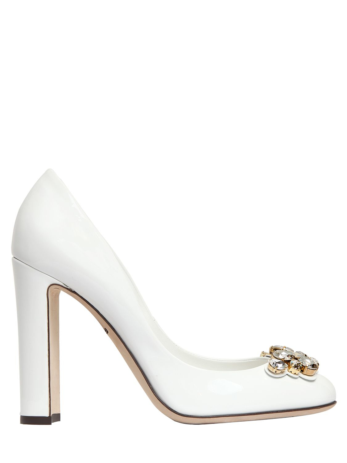f69146a0f318 Dolce   Gabbana 105mm Jeweled Patent Leather Pumps in White - Lyst