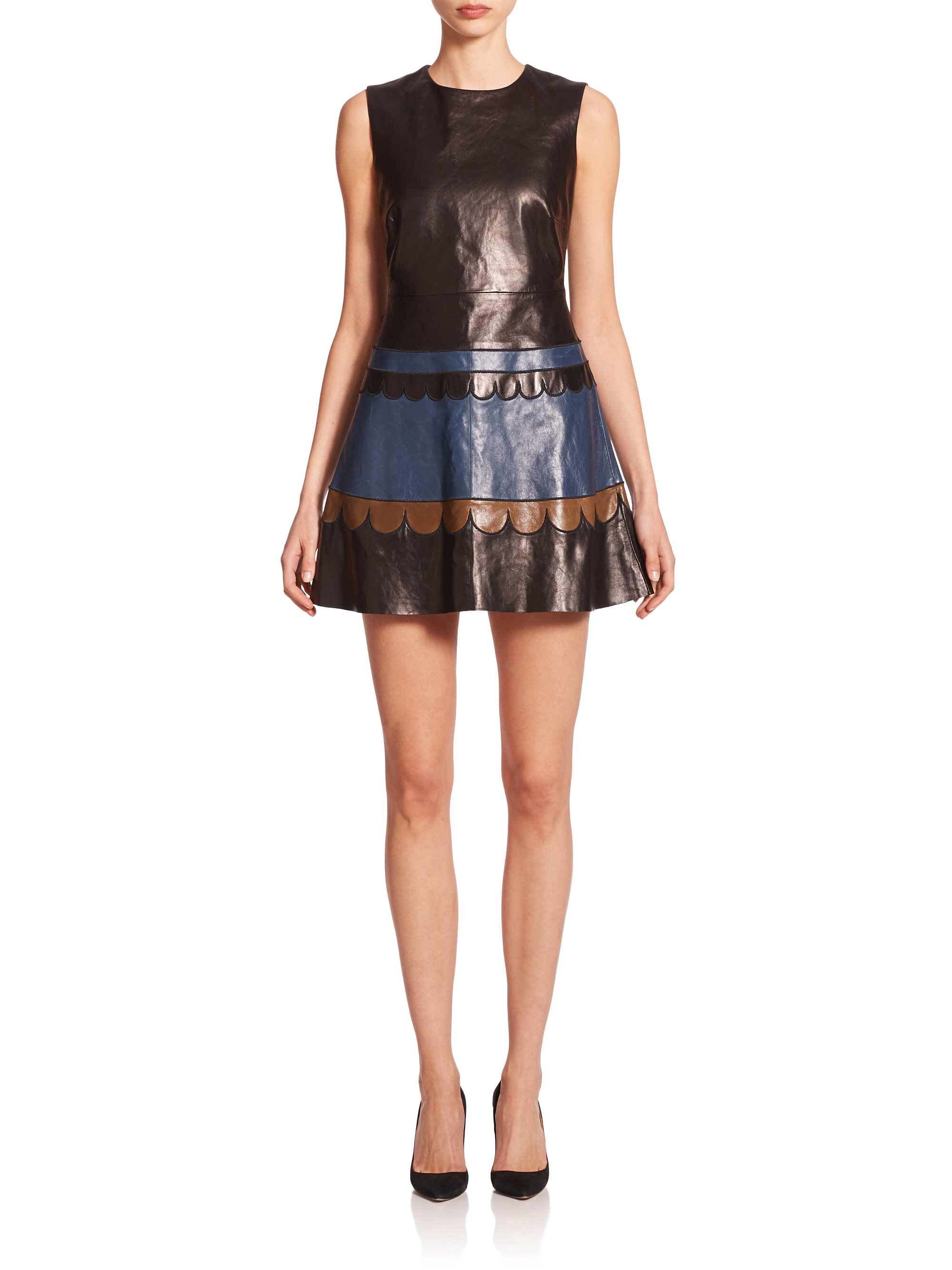 deea56a013 RED Valentino Leather Scalloped Colorblock A-line Dress in Brown - Lyst