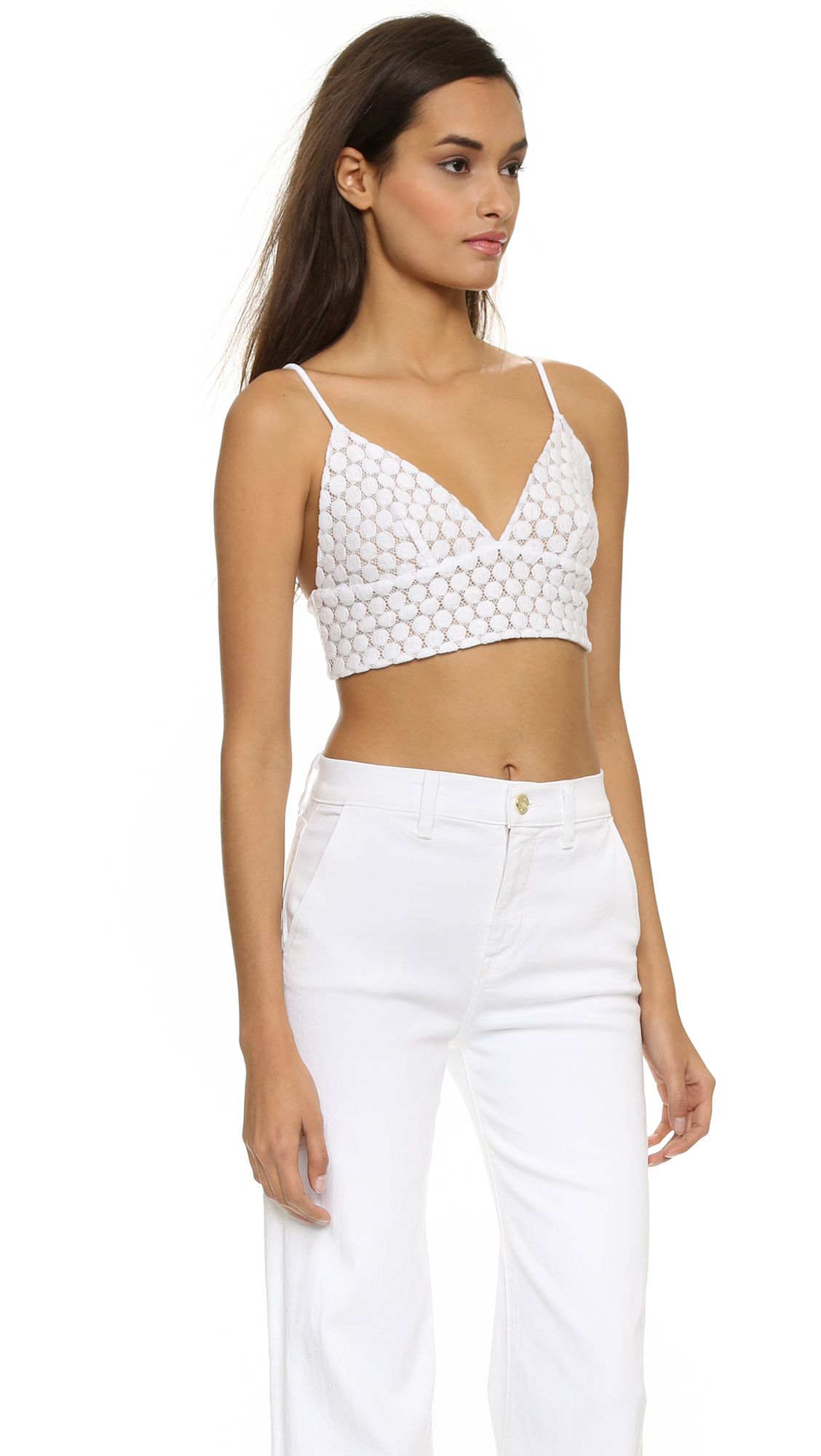 ff222e5211 Lyst - David Lerner Lace Bralette Top - Ink in White