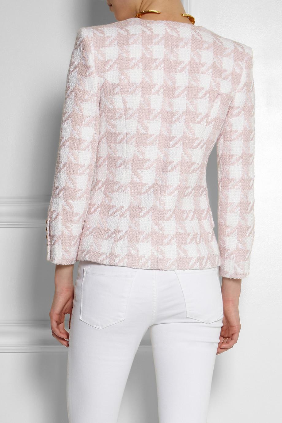 Balmain Houndstooth Cottonblend Tweed Jacket in Pink | Lyst