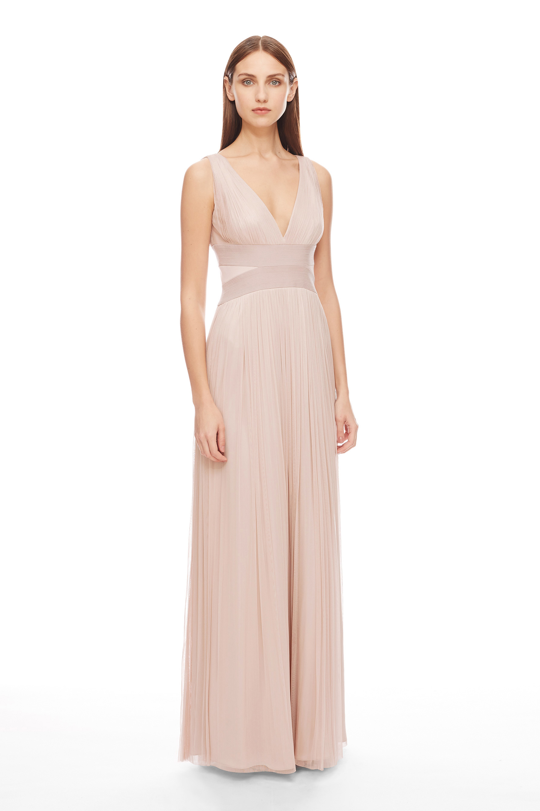 Amanda wakeley Nakai Blush Long Silk Tulle Dress in Pink | Lyst