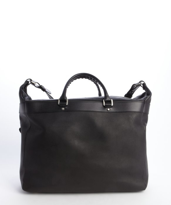 Balenciaga Pre Owned Black Leather Weekender Travel Bag