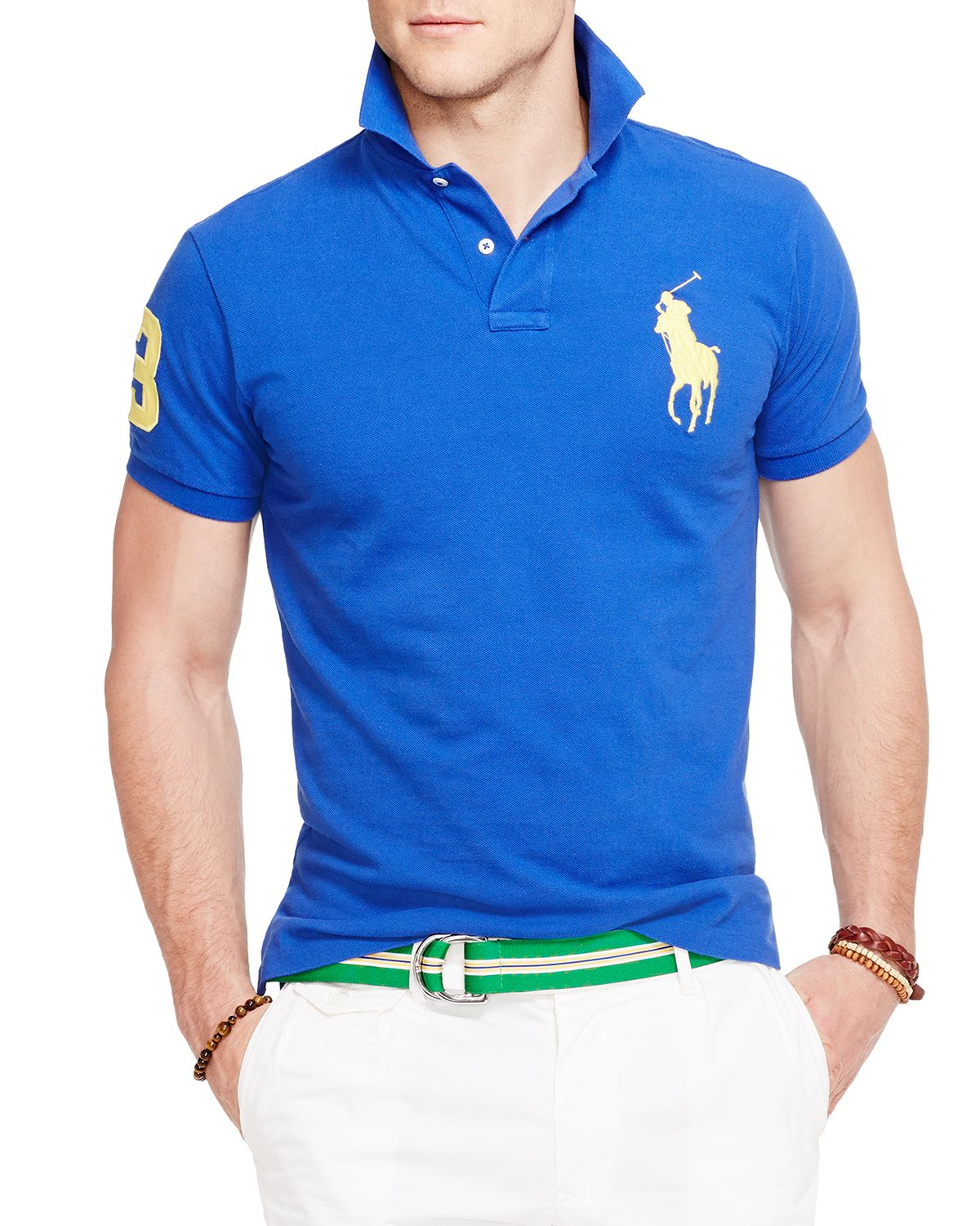 Ralph lauren Polo Custom Fit Big Pony Mesh Polo Shirt - Slim Fit in Blue for