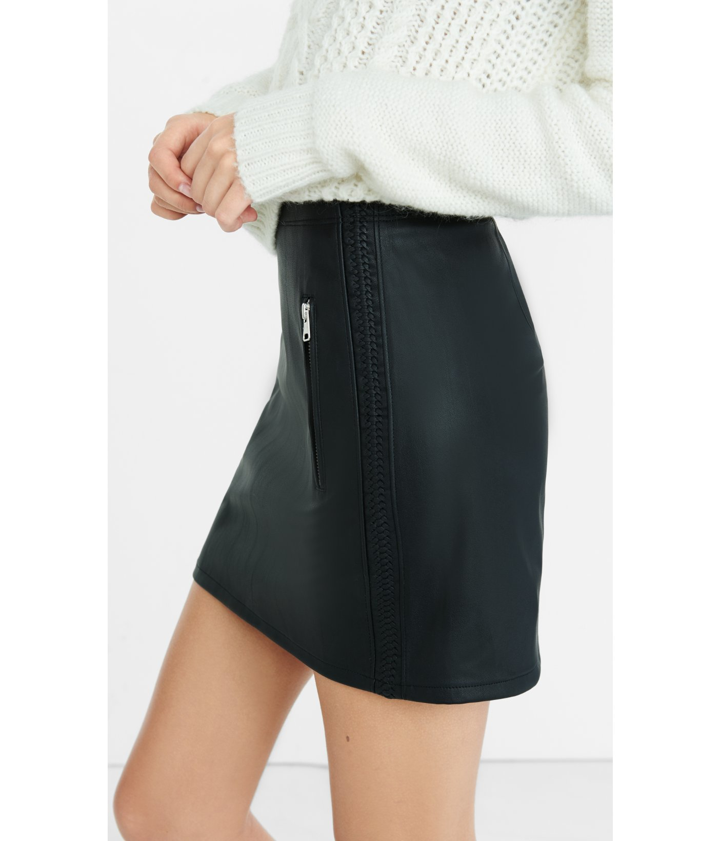 Express High Waisted (minus The) Leather Mini Skirt in Black | Lyst