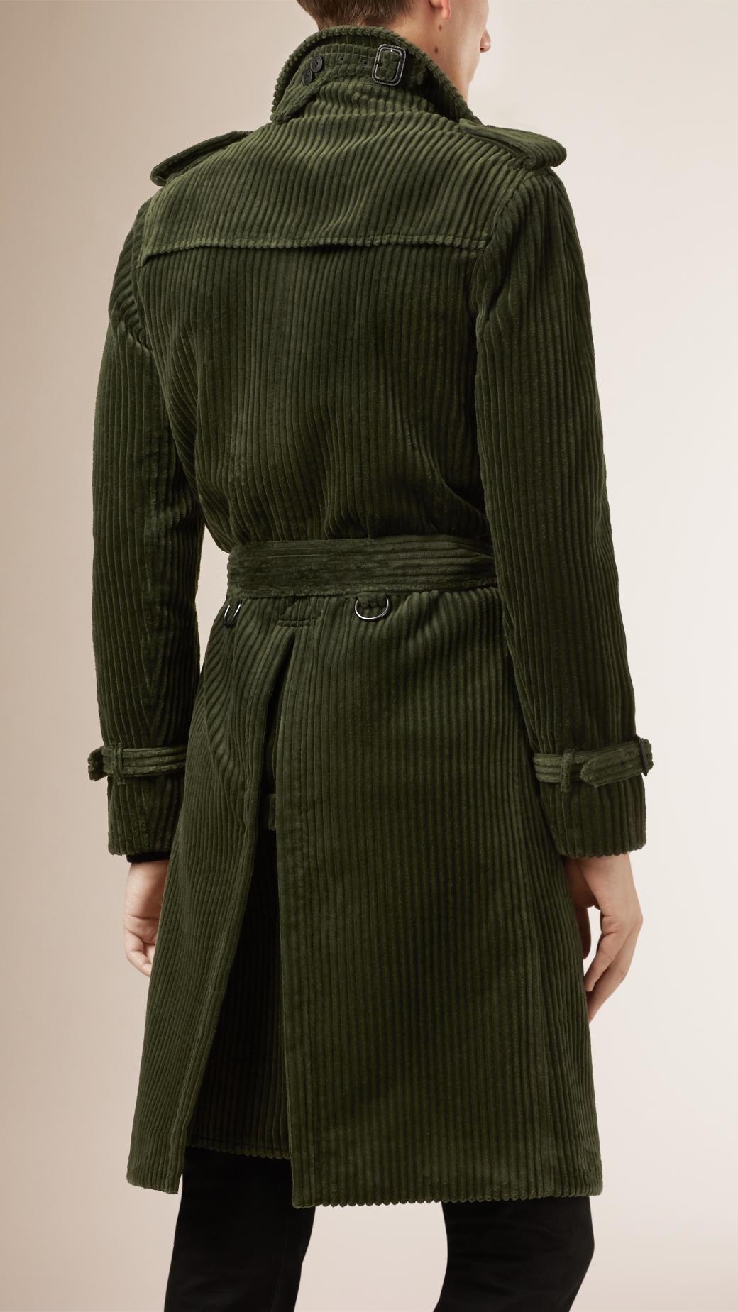 Lyst Burberry Corduroy Trench Coat In Green For Men