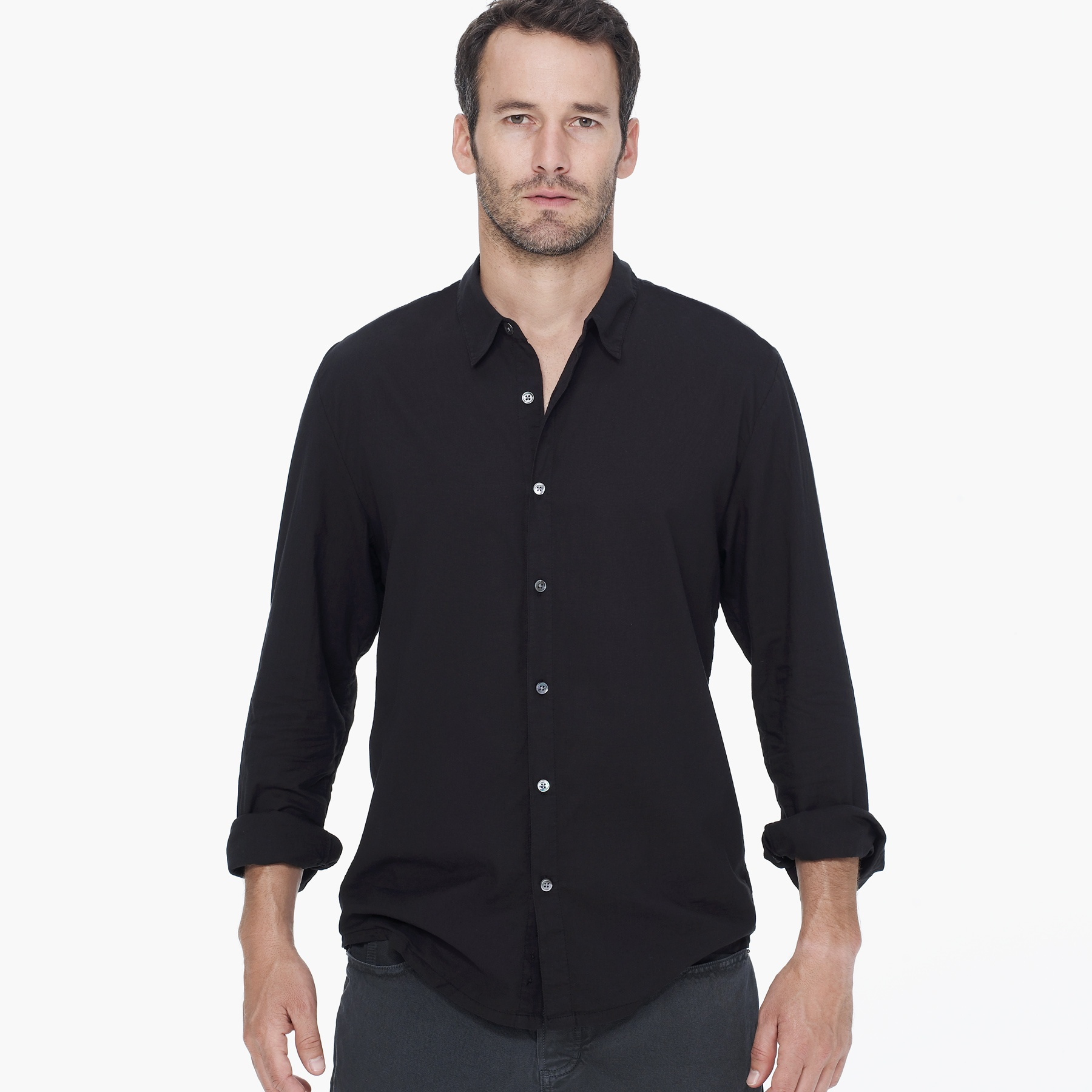james perse standard shirt in black for men lyst
