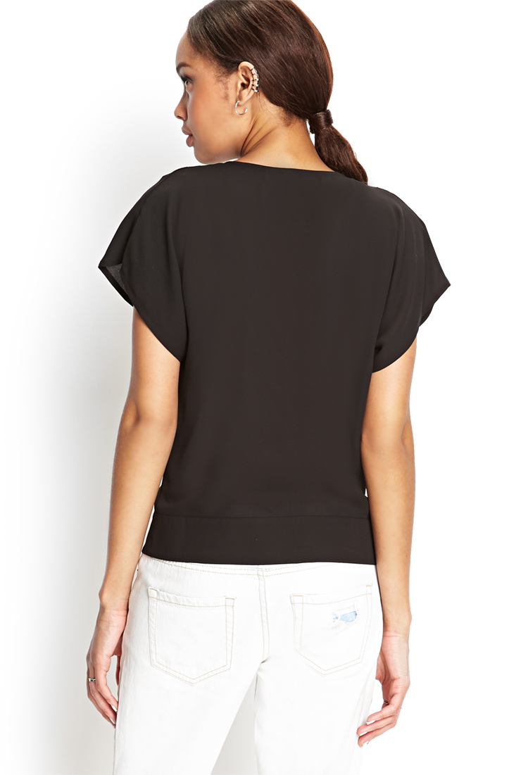 Forever 21 Buttoned Surplice Top in Black