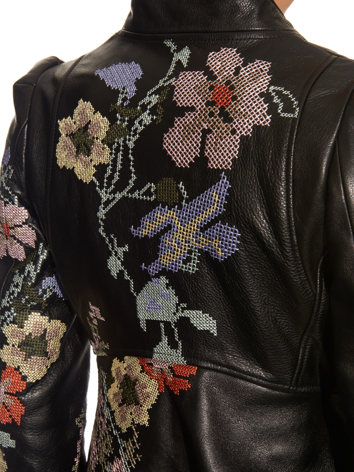 Lyst Alexander Mcqueen Cross Stitch Embroidered Leather Jacket