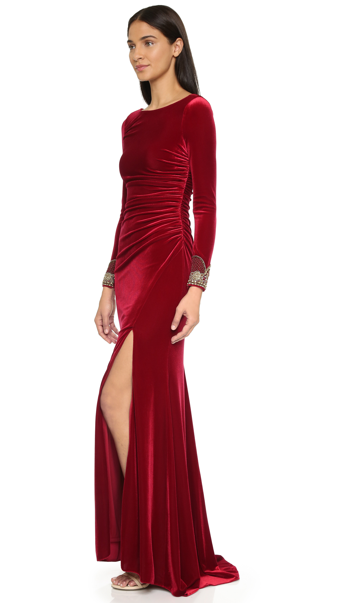 Badgley mischka Velvet Long Sleeve Dress - Crimson in Red | Lyst
